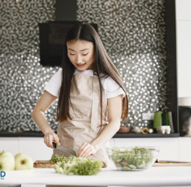 Girl working in a kitchen